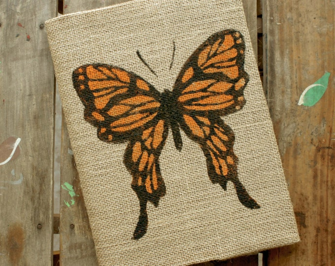 Butterfly - Burlap Journal  Refillable -  Notebook included - Composition Notebook Cover - Butterfly Journal - Sketchbook