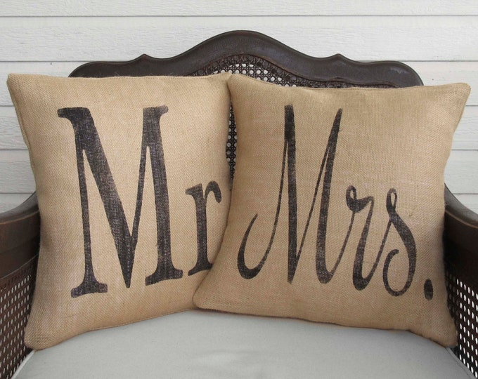 Mr and Mrs -  Pair of Burlap Pillows - Wedding Pillows - Marriage Pillows -  Mr and Mrs Pillow