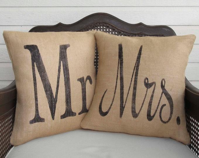 Mr and Mrs -  Pair of Burlap Pillows - Wedding Pillows - Marriage Pillows -  Mr and Mrs Pillow