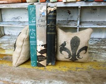Fleur de lis with Bird- Petit Feed Sack Pillow Pair - Unique paper weight, bookends, pin cushion, etc