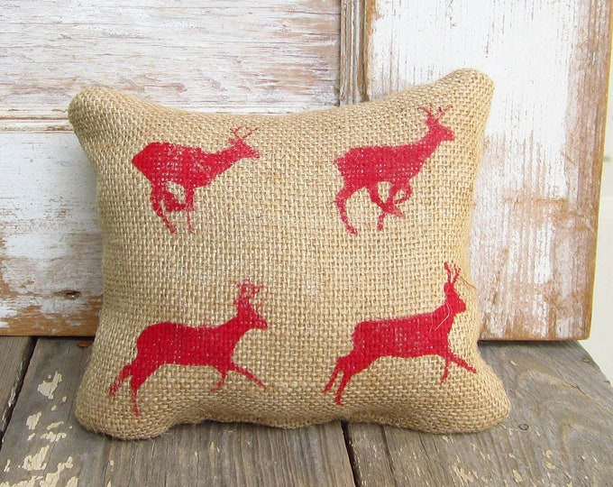 Running Deer Zoopraxography Study -  Burlap Feed Sack Doorstop - Deer Door Stop - Christmas Deer