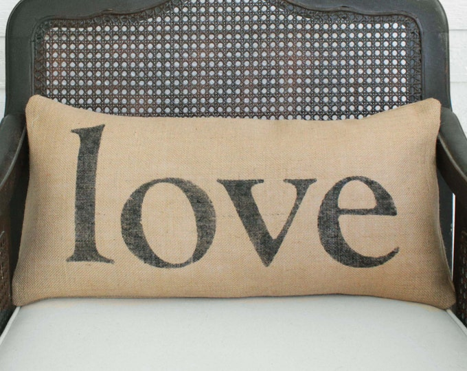 Love in any Language -  Burlap Pillow - Personalize with the language of your choice - Typography custom -  Love Pillow Lumbar Style
