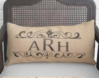 Personalized Burlap Pillow  - Choose your Monogram or Special Date  - Lumbar Style Pillow -  Monogram Pillow  -  Date Pillow - Custom Pillow