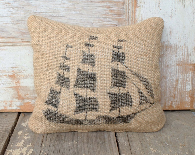 Clipper Ship - Burlap Feed Sack Doorstop - Nautical  Design - Coastal Doorstop