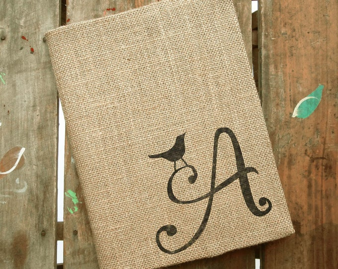 Bird Letter - Monogram Burlap Journal Cover w. Notebook - Custom Journal Lined  Journal Personalized - Composition Notebook Cover