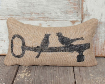 Love Birds -  Burlap Feed Sack Doorstop - Birds Perched on Key Door Stop
