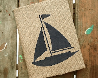 Sailboat  Burlap Journal  - Refillable Journal Cover  - Notebook included - Nautical Journal - Sailboat Journal - Composition Notebook Cover