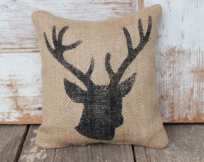 Woodland Deer  -  Burlap Feed Sack Doorstop - Deer Head - Stag Head - Deer Antlers - Door Stop
