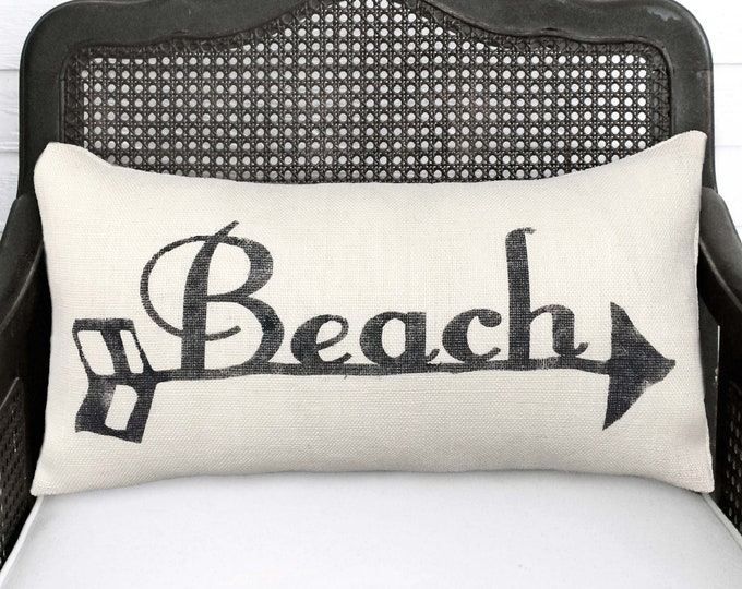 To the Beach - Beach Arrow - Burlap  Pillow - Beach Pillow - Beach Decor - Beach Cottage  - Lumbar Style