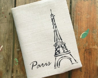 Eiffel Tower - Burlap Journal Cover w. Notebook - French Paris Travel Journal, Diary, Sketchbook - Refillable Composition Notebook Cover