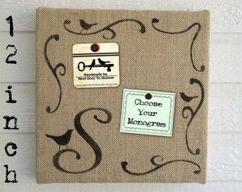 Bird Monogram - Burlap covered Cork Message Board - Custom - 12 inch