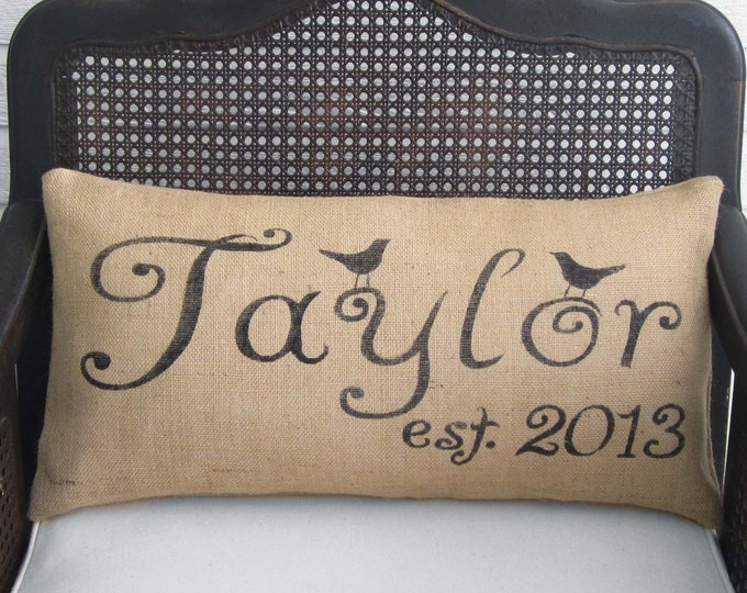 Personalized Bird Letter Name and Est. Date - Burlap Pillow Lumbar Style - Bird Pillow - Name Pillow - Est. Pillow  Date Pillow  Love birds