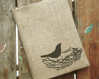 Nest -  Burlap Feed Sack Journal Cover w. Notebook - Refillable Composition Notebook Cover