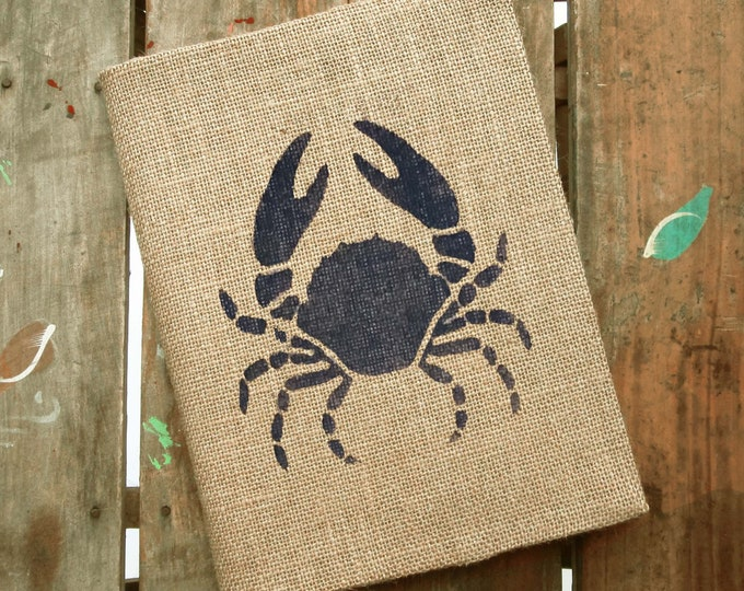 Crab  Burlap Journal  - Refillable Journal Cover  - Notebook included - Nautical Journal - Sailboat Journal - Composition Notebook Cover
