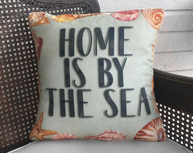 Home is by the Sea - Seashell Pillow -  Linen Cotton Blend