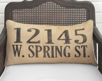 Custom Street Address Pillow  -  Burlap Pillow Lumbar Style - House Address Numbers - Home Address Number Pillow - Home Pillow