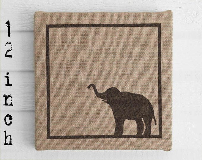 Miss Baba the Circus Elephant - 12 inch Burlap over Cork Message Board, Pin Board, Memo Board, Bulletin Board - Elephant decor