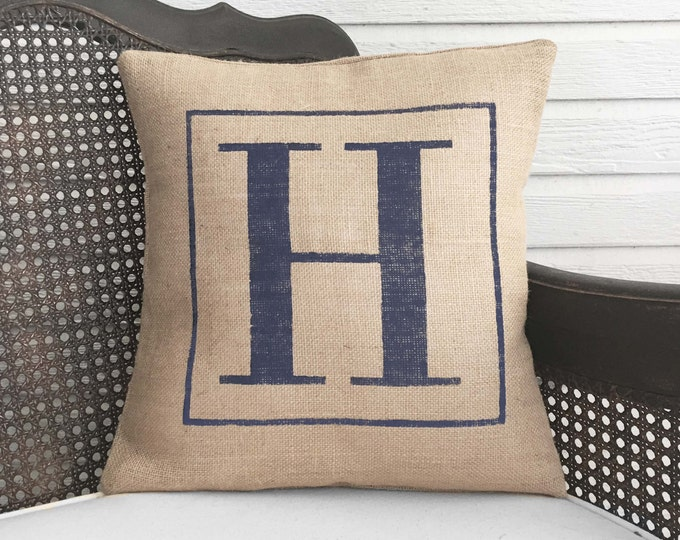 Classic Monogram  - Burlap Pillow - Monogram Pillow Burlap - Personalized - Letter Pillow - Initial Pillow - Alphabet Pillow