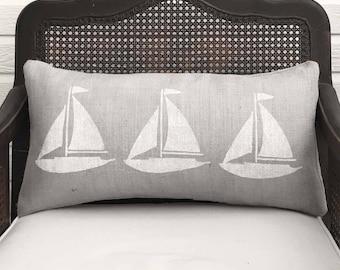 Sailing Away - Burlap  Sailboat  Pillow Lumbar -  12x24