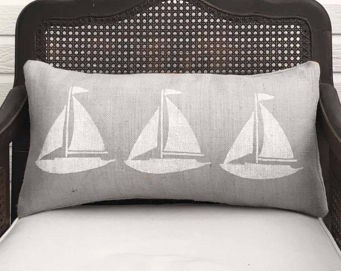 Sailing Away - Burlap  Sailboat  Pillow Lumbar -  12x24