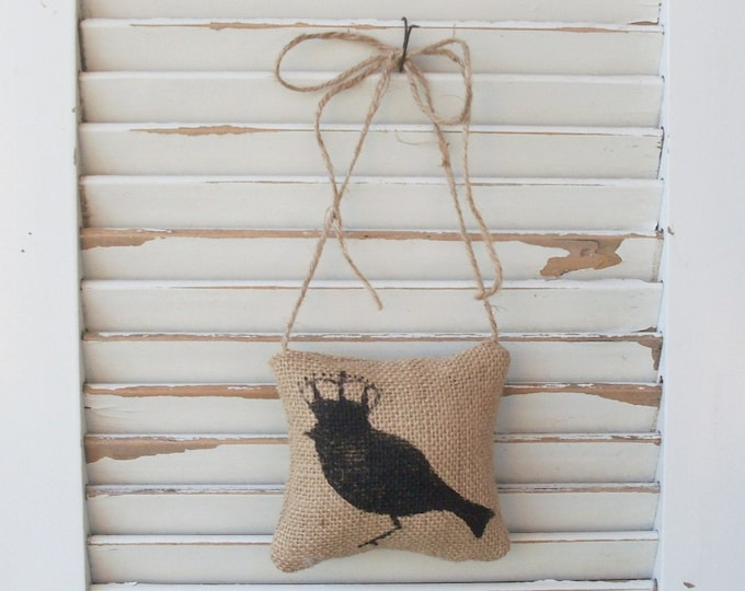 Bird with Crown -  Burlap Door Hanger