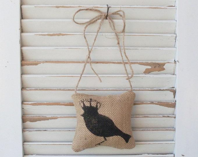 Bird with Crown -  Burlap Door Hanger