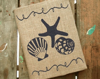 Beach Memories -  Burlap Journal  - Refillable Composition Notebook Cover  - Notebook included -  Seashell Journal - Seashell Notebook
