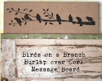 Birds on a Branch -  Burlap covered Cork Message Board - 8 x 26  inch