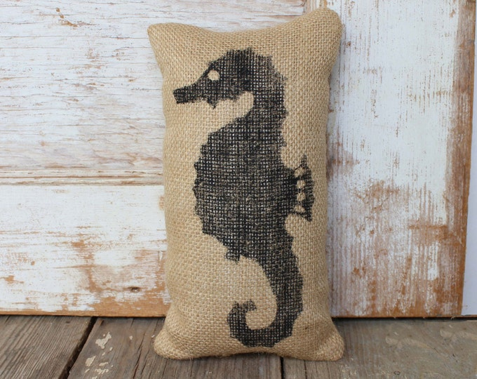 Seahorse-  Burlap Feed Sack Doorstop - Beach Cottage Nautical Decor - Door Stop