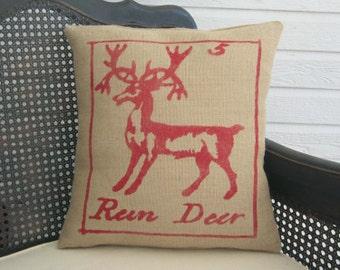 Reindeer Pillow - Burlap Christmas Pillow - Christmas Pillow - Deer Pillow  - Christmas Decor - Holiday Decor