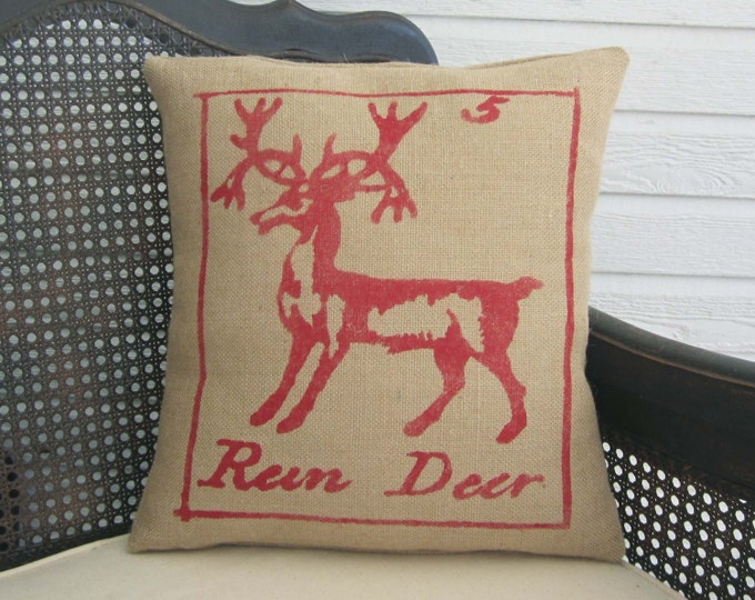 Reindeer Pillow - Burlap Christmas Pillow - Christmas Pillow - Deer Pillow  - Christmas Decor - Holiday Decor