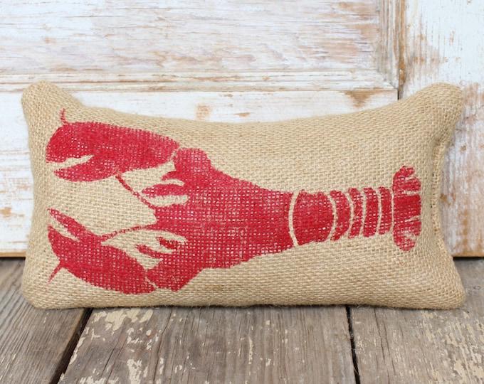 Astacidea Lobster-  Burlap Feed Sack Doorstop - Coastal Door Stop  - Nautical Decor -