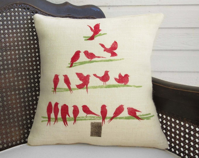 O Christmas Tree -  Burlap Christmas Pillow - Burlap Pillow - Decorative Bird Christmas Tree Pillow