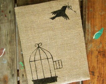 Free to Fly -  Burlap Feed Sack Journal Cover w. Notebook - Journal with Birdcage and Skeleton Key - Refillable Composition Notebook Cover