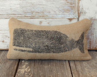 Cachalot Whale-  Burlap Feed Sack Doorstop - Nautical Door Stop - Burlap Decor - Coastal Decor - Whale decor