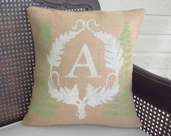 Personalized Fern Monogram Pillow  - Burlap Pillow - Fern Pillow - Burlap Monogram Pillow -  Fern Decor - Fern Wreath - Initial Pillow