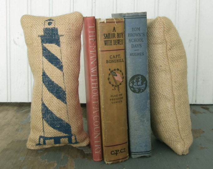 The Cape Lighhouse - Petit Feed Sack Pillow Pair - Unique paper weight, bookends, pincushion,  - Nautical Decor - Lighthouse Decor - Coastal