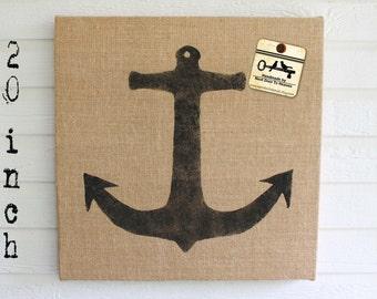 Anchor -  Burlap covered Cork Message Board 20 inch - Pin Board - Tack Board - Memo Board - Bulletin Board - Anchor Decor - Nautical