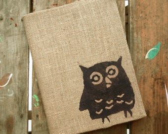 Owl -  Burlap Feed Sack Journal Cover w. Notebook - Owl Journal - Composition Notebook Cover