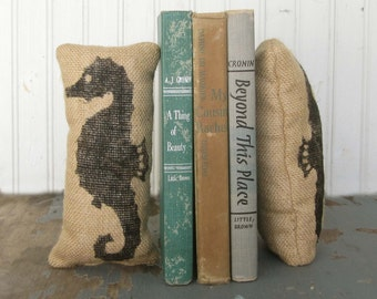 Seahorse - Petit Burlap Pillow Pair - Unique paper weight, bookends, pin cushion, etc - Nautical Decor - Beach Cottage - Coastal