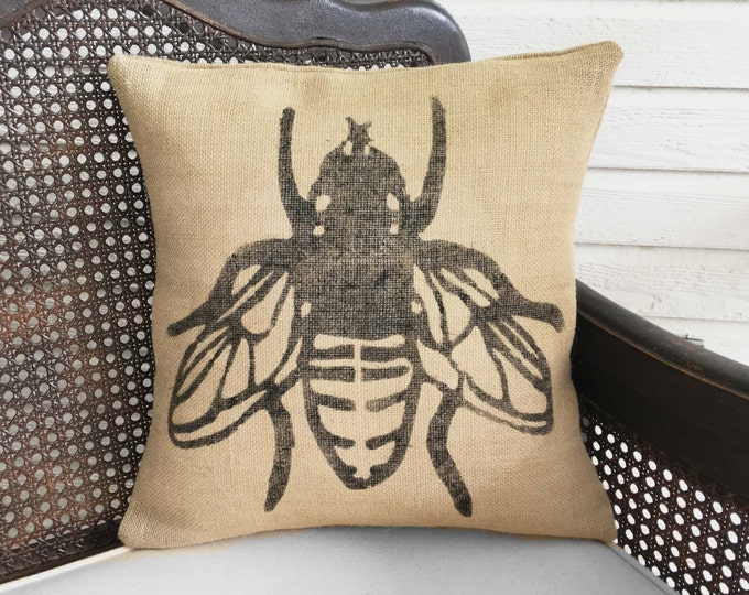Save the Bees - Decorative Burlap Pillow - Bumble Bee Pillow - Honey Bee Decor