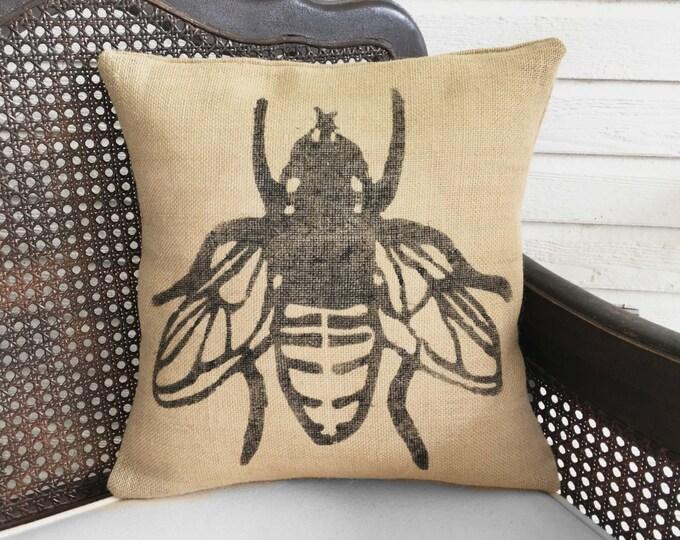 Save the Bees - Decorative Burlap Pillow - Bumble Bee Pillow - Honey Bee Decor