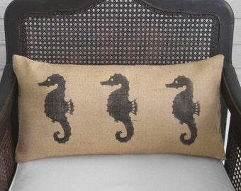 Seahorse Pillow  - Burlap Pillow - Coastal  Pillow - Lumbar Pillow - Beach Cottage - Nautical Decor - Throw Pillow
