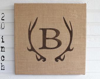Deer Antler Monogram Burlap Covered Cork Message Board  Antler Wall Decor - Pin Board, Cork Board, Bulletin Board, Memo Board Personalized