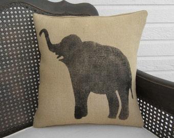 Miss Baba The Circus Elephant  - Burlap Pillow - Elephant Pillow