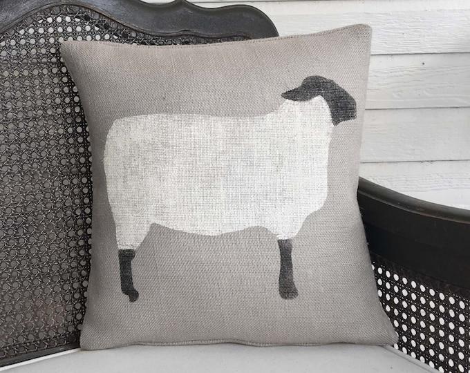 Suffolk Sheep - Burlap Pillow - Sheep Pillow - Sheep Decor - Black Faced Sheep - Wooly Lamb - Primitive Sheep