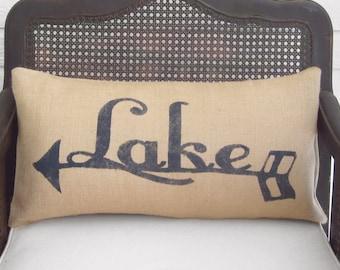 To the Lake -  Burlap Pillow -  Lake Pillow - Lake Cabin Decor  - Arrow - Lake Cottage Decor - Lake House Decor - Lake House Pillow