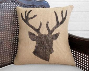 Woodland Deer  - Burlap  Pillow - Stag Head Pillow  -  Deer Head Pillow - Antler Pillow - Deer Pillow - Fall Pillow