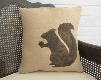 Woodland Squirrel - Pillow Burlap - Squirrel Pillow - Fall Pillow
