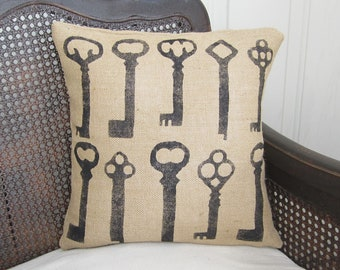 Keys - Burlap  Pillow - Feed Sack Chic - Skeleton Key Pillow - Key Burlap Pillow - Skeleton Key Decor